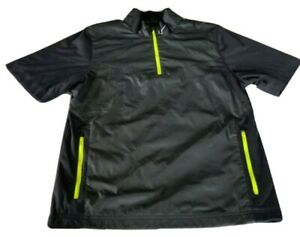 Nike Golf Short Sleeve Mens Black Windbreaker 1/4 Zip Neon Zipper Size Small