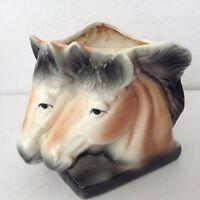 Vintage 2 Horses Flower/ Planter-ceramic pot