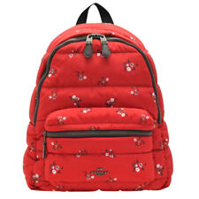 NWT COACH Charlie Backpack Quilted Floral Nylon Backpack School Shoulder Bag Red