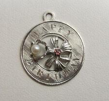 Happy Birthday Charm, June Birthday, Alexandrite, Pearl, Pendant, .925, #C250