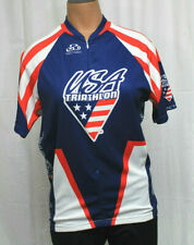 USA Triathlon Women's Pactimo Red White Blue 3/4 Zip Cycling Jersey Size L