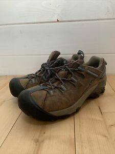 Keen Mens Brown Leather Hiking Walking Shoes Size UK 8 EUR 42 Keen Dry