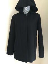 Ladies Black Hip Length Wool Hooded Winter Coat Jacket Size 12 By BHS