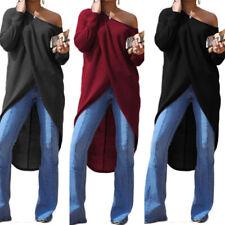 ZANZEA 8-24 Women Long Sleeve High Low Tunic Top Tee T Shirt Club Party Blouse