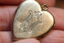 OLD VINTAGE ART NOUVEAU HEART LOCKET PENDANT NECKLACE