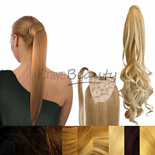 Thick Clip in Wrap Around Ponytail Hair Extensions- Straight, Wavy & Curly 200g!