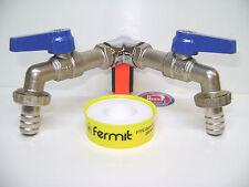 """WASSERHAHN DOPPELANSCHLUSS Wasserverteiler Kugelhahn 1/2""""DN15 (11-17)o-805001675"""