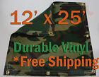 12' x 25' Heavy Duty 18 oz Vinyl Camo Camouflage Tarp Ground Cover Blind