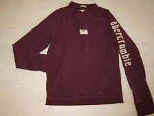 Abercrombie Muscle Guys Long Sleeve Shirt Button -Up Burgunday Sz L - NWT