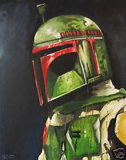 120cm x 95cm star wars art painting poster print boba fett COA Andy Baker