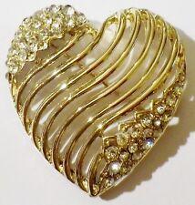 broche bijou vintage rétro coeur relief cristaux diamant couleur or poli  4454