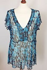 Per Una Size 18 Turquoise Black Sheer Embroidered V Neck Ladies Top Party