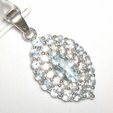 2.88cts Natural Sky Blue Topaz & White Topaz Pendant 925 Sterling Silver Rhodium