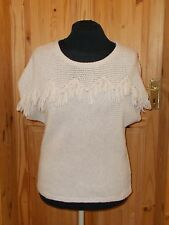 MONSOON oatmeal beige knitted WOOL short sleeve fringe tassle jumper top L 16 18