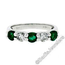 14K White Gold 0.92ctw Round Brilliant Prong Diamond & Emerald Wedding Band Ring