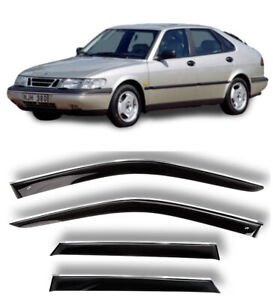 Chrome Trim Window Visors Guard Vent Deflectors For Saab 900 Hb 5d 1993-1998