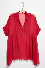 Free People FP One Aiden Top Flowy Lace Oversize Collared Cotton Tunic XL New