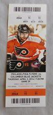 Philadelphia Flyers Vs Columbus Blue Jackets 4/3/14 NHL unused Game Ticket