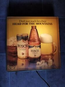 VINTAGE Hanging Busch Beer Lighted Ad Sign Aluminum Can Glass Bottle Mountains