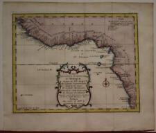 GUINEA COAST WEST AFRICA GUINEA-BISSAU ANGOLA 1746 BELLIN UNUSUAL ANTIQUE MAP
