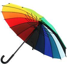 XL Regenschirm Regenbogen Schirm sturmsicher Stockschirm Partnerschirm 16 farbig