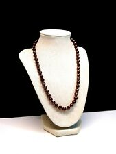 Simulated Chocolate Pearl Glass Necklace Strand