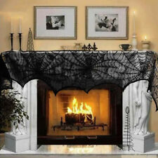 Cobweb Fireplace Lace Scarf Spiderweb Mantle Cover Home Accessory Halloween New