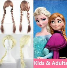 New Princess Elsa Anna Snow Queen Frozen Weaving Braid Cosplay Wig Kids AdultsBF
