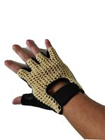 Mens Fingerless Cycling Gloves Half Finger Foam Padded size large (L)