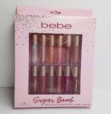 New BEBE SUGAR BOMB 12-Piece Set = 6 Lip Shimmer + 6 Lip Cream & Gloss