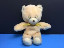 "Vintage Knickerbocker Bean Bag Animals Teddy Bear 8"" Sleeping Plush Cream Yellow"
