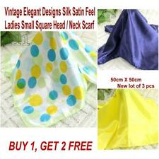 Lot 3 Pcs New Fashion Elegant Silk Satin Womens Small Square Head Neck Scarf 054