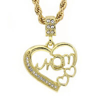 """Gold tone Hip-Hop Heart MOM Cz Micro Pendant Rope 4mm 24"""" TCH Chain Necklace"""