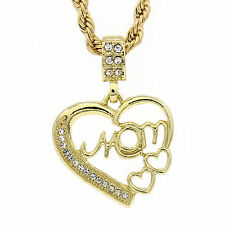 "Gold tone Hip-Hop Heart MOM Cz Micro Pendant Rope 4mm 24"" TCH Chain Necklace"