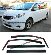 For 11-Up Toyota Sienna IN CHANNEL Smoke Tinted Side Window Visors Rain Guards