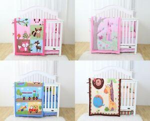 4 Piece Crib Baby Bedding Nursery Set Includes Designs for Boys & Girls