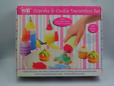 NEW 11pc CUP CAKE & COOKIE DECORATING SET DUAL ICING BOTTLES SPATULA BOX SALE SH