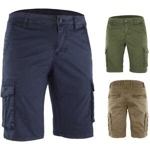 Bermuda Uomo Cotone Shorts Cargo Pantalone Corto Bianco Blu Casual Veque