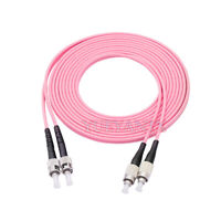 1M FC UPC to ST UPC Duplex OM4 Multimode 3.0mm Fiber Optic Patch Cord Cable