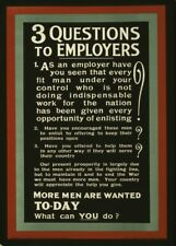 THREE QUESTIONS TO EMPLOYEES . . .  British WW1 Propaganda Poster