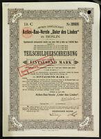 "GERMANY 935/B&G -Actien-Bau-Verein ""Unter den Linden"" 4 % 1000 Mark 1906 Berlin"