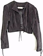 VTG 80s GIORGIO BEVERLY HILLS Womens S Fringe Black Suede Cropped Jacket Lined