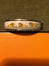 HERMES BRACELET Lions Silver & Enamel Bangle with turn lock & hinge