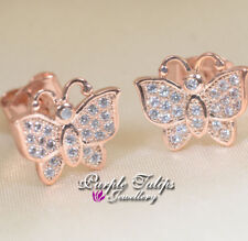 Butterfly Made With SWAROVSKI Crystal Stud Earrings, 18CT Rose Gold Plated