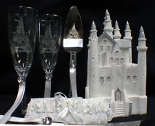 Fairytale Castle Wedding Cake Topper Toasting Glasses Server Set Lot Cinderella