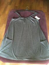 BNWT LADIES SIZE S/M GREY SLEEVELESS SMOCK STYLE JERSEY TOP WITH POCKETS