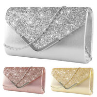 Womens Silver Shiny Prom Handbag Bridal Wedding Evening Party Clutch Bag Purse