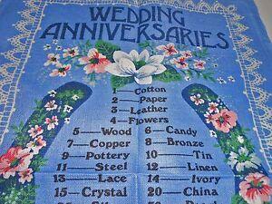 VINTAGE SOUVENIR TEA TOWEL IRISH/LINEN BY 'WEDDING ANNIVERSERIES'  BRAND NEW