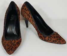 Ann Taylor LOFT brown black faux fur animal print high heels shoes ladies 7.5 M