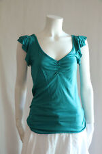 NEW Nordstrom Rag Story Low Cross Strap Back Cap Sleeve Blue Jersey Top Shirt